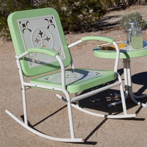 metal rocking patio chairs buy paradise cove retro metal rocker color green best