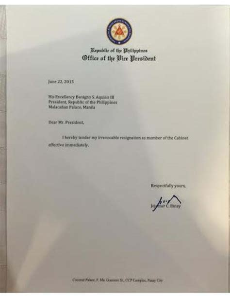 Resignation Letter Vice President Look Vp Binay S One Sentence Resignation Letter News Gma News