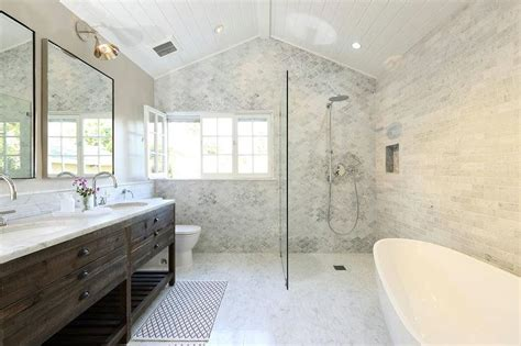 open shower bathroom open shower with marble quatrefoil tiles transitional