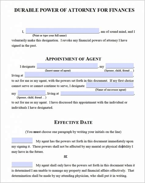 power of attorney template canada durable power of attorney form canada form resume