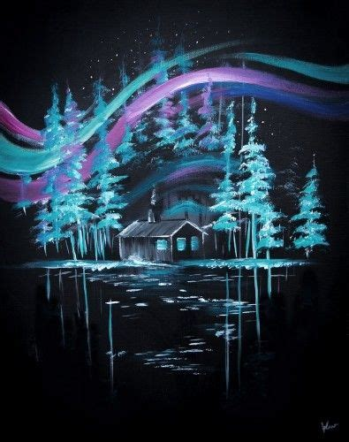 black background painting teal blue trees on black background painting with