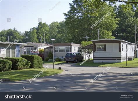 house trailer park mobile homes in ohio stock photo