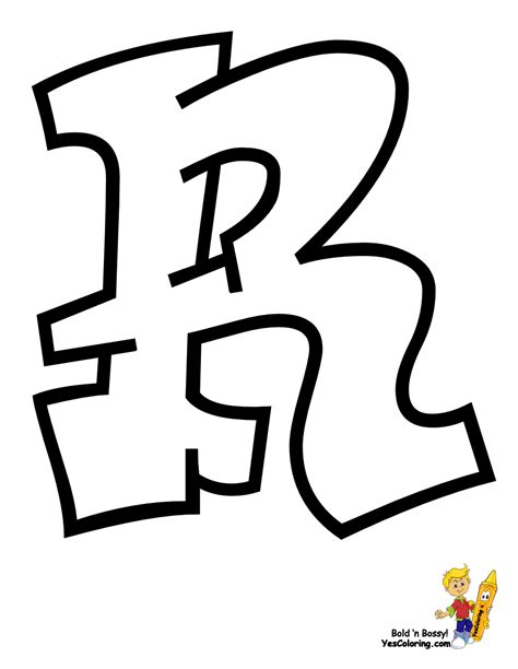 Gangster Letter R cool graffiti abc coloring pages abc free alphabet