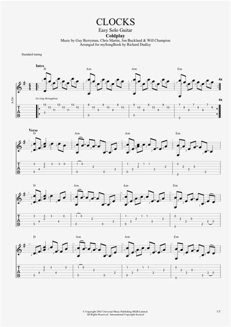 coldplay clocks chords clocks by coldplay easy solo guitar guitar pro tab