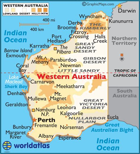 map of western australia western australia large color map