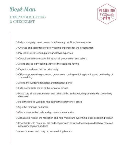 Wedding Usher Checklist by Printable Wedding Duties Checklist Wedding