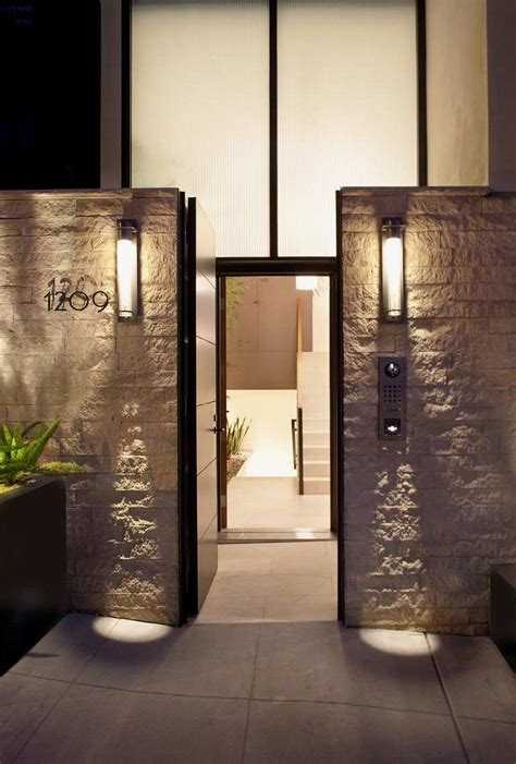 Outdoor Front Entry Lighting Entrance Of Four Story Contemporary Residence With Interior Home Building Furniture