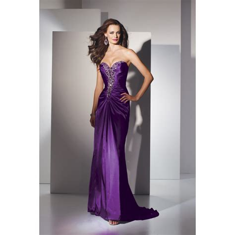 sheath strapless ruched beading taffeta long purple prom dress