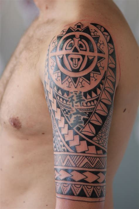 half sleeve polynesian tattoo designs half st