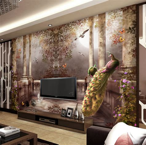 home decor tv wall pastoral style wallpaper 3d wallpaper for walls peacock wall mural rococo style