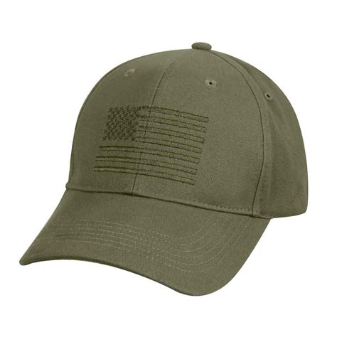 olive drab embroidered us flag baseball cap