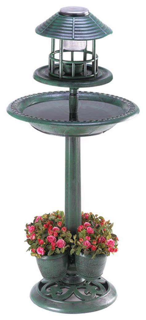 Solar Light Planter by Verdigris Garden Centerpiece Birdbath Planter Solar