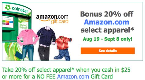 Coinstar Amazon Gift Card Code - coinstar turn 25 in coins for 20 off of apparel at amazon