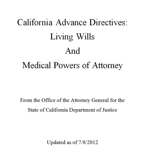 smashwords california advance directives living will