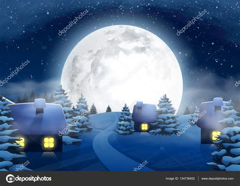 Different Style Of Houses christmas winter big full moon night landscape with small
