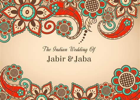 Indian Wedding Card Templates Vector by Free Vector Colorful Indian Wedding Card Free
