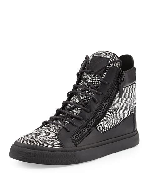 high top mens sneakers giuseppe zanotti mens jeweled leather high top sneaker in