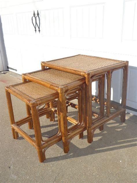 bamboo accent table set of 3 vintage nesting tables faux bamboo rattan