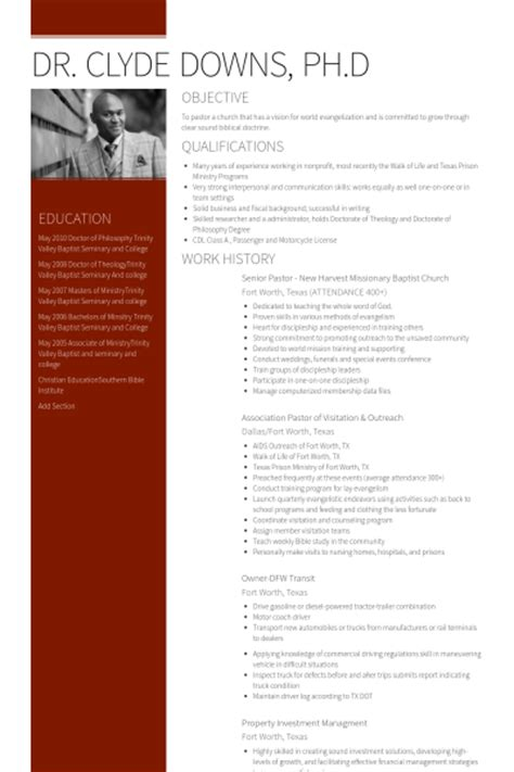 senior pastor resume samples visualcv resume samples