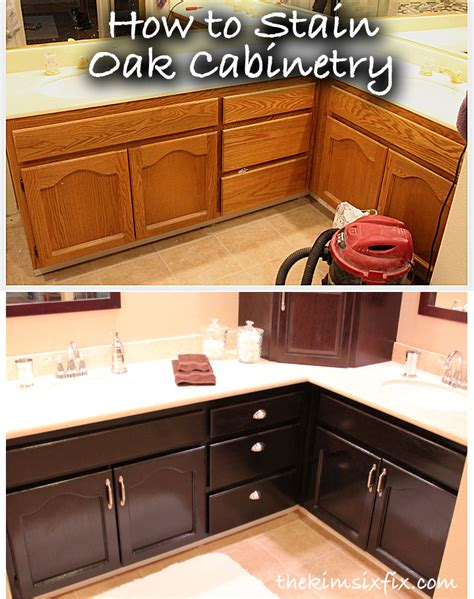 how to stain kitchen cabinets black how to stain oak cabinetry tutorial the six fix