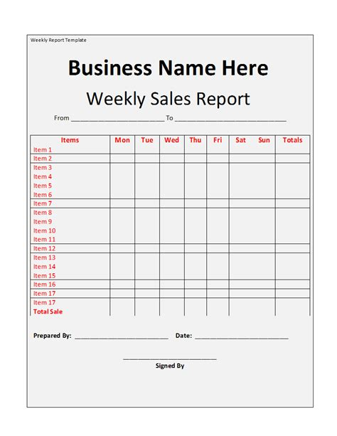 Weekly Report Template Free Formats Excel Word Weekly Report Template