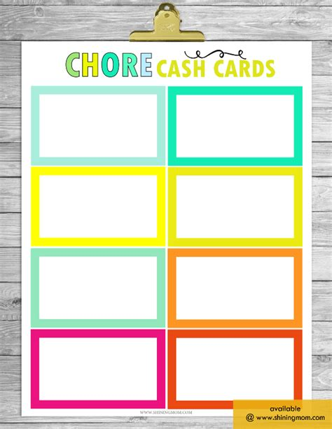 picture chore card template free printable chore charts that work