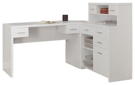 White Desk For Home Office Monarch Specialties 7028 Hollow L Shaped Home Office Desk In White Traditional Desks