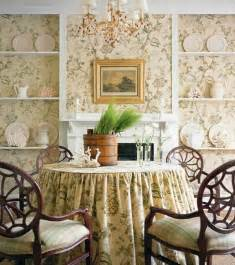 Country French Dining Rooms Design Interior French Country Bright Brown Floral Wall