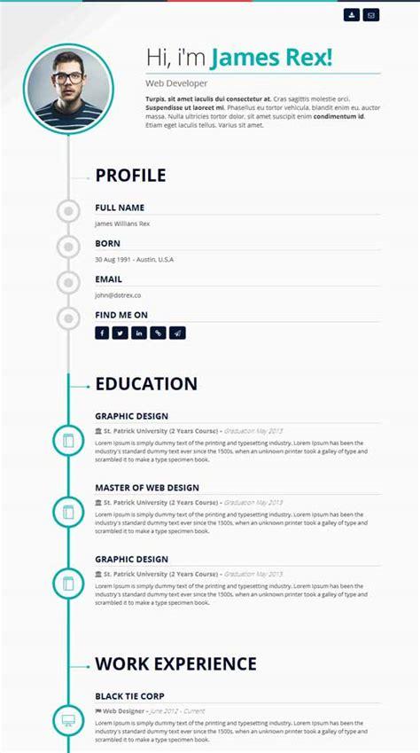 Resume Or Cv 50 Best Html Resume Cv Vcard Templates 2017 Freshdesignweb