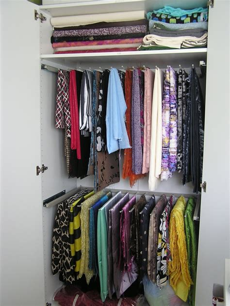 Stand Alone Closet Organizer by Fabric Storage Using Pant Hanger Rails Inside Stand Alone
