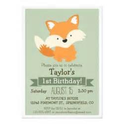 baby fox woodland animal kid s birthday 5x7 paper invitation card zazzle