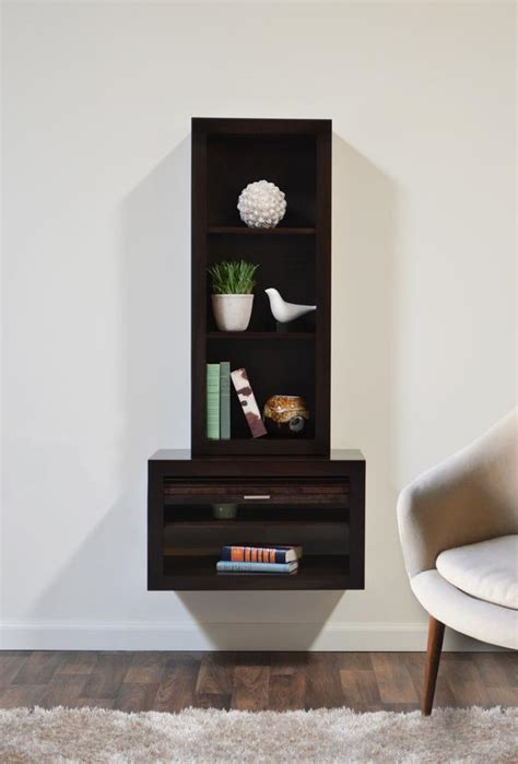 floating  table bookcase eco geo espresso woodwaves