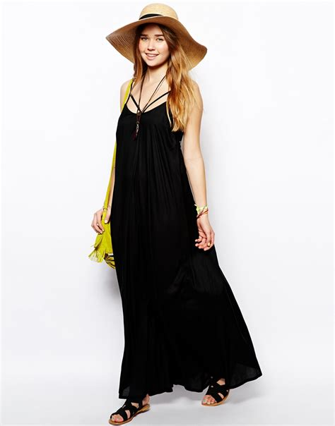 Dress Maxi Dress Wanita Maxi 1 asos trapeze maxi dress in black lyst