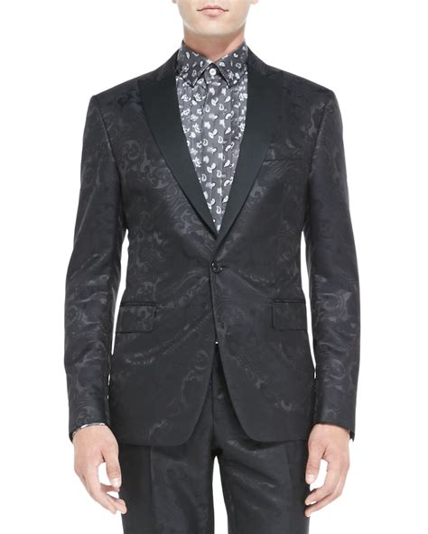 black jacquard pattern slim suit jacket etro paisley jacquard tuxedo jacket in black for men lyst