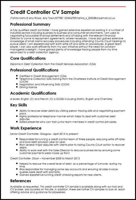Credit Controller Cover Letter Exles Credit Resume Template