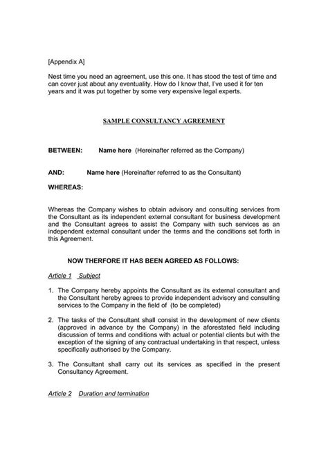 consulting contract template download free premium