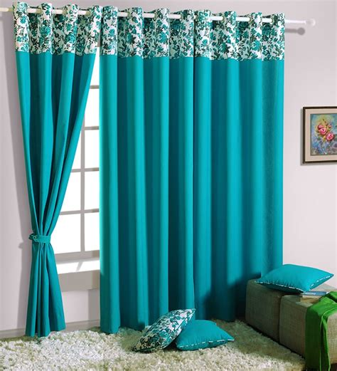 turquoise window curtains swayam turquoise blue solid eyelet window curtain 5 ft by