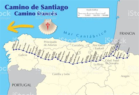 map camino de santiago map of camino de santiago route vector stock vector