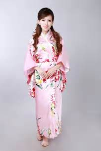 Shipping exquisite japan kimono dress in pink white women clothing