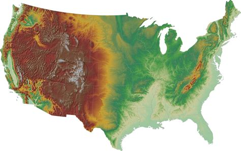 usa topographic map topographic hillshade map of the contiguous united states