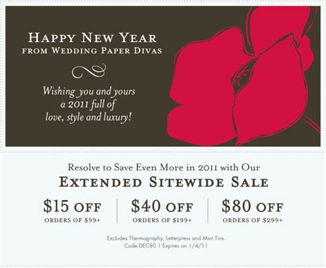 wedding paper divas promo save up to 80 wedding paper s new year sale save