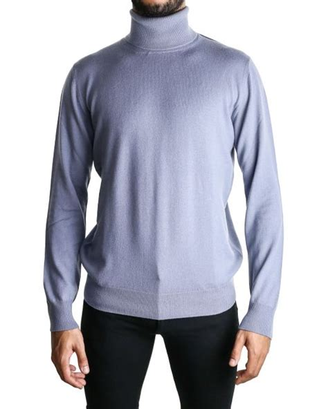 light blue turtleneck mens paul smith crew neck cashmere sweater in blue for men lyst