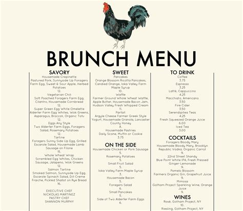 foragers city table brunch menu organic food chelsea