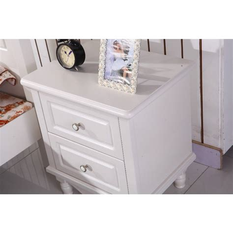 White And Oak Bedside Table White Oak Wooden Bedside Table W 2 Drawers Buy