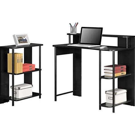 Computer Desk At Office Depot Altra Wood Computer Desk And Bookcase Set Black By Office Depot Officemax