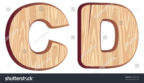 c d wood font isolated wooden stock vector 75604534