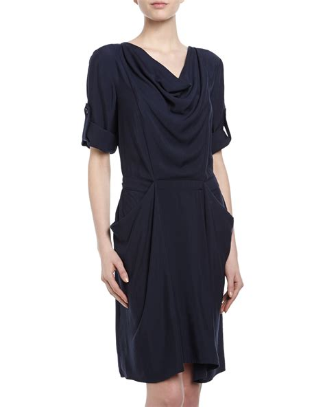 draped dresses with sleeves bcbgmaxazria fayan tab sleeve draped dress in blue