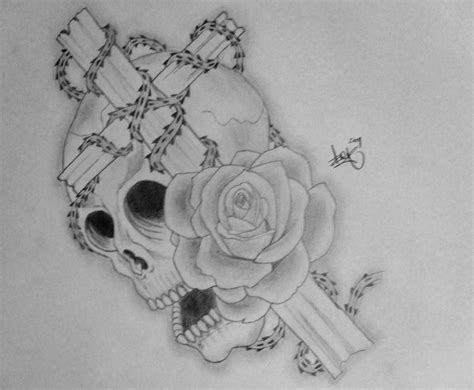 skull rose and cross tattoo by arthurjacobs on deviantart