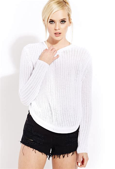 white open knit sweater forever 21 be seen open knit sweater in white lyst