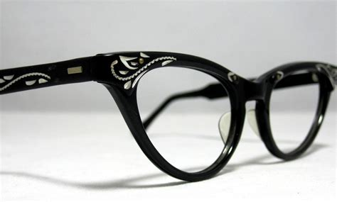 Vintage Cat Eye Glasses | vintage cat eye glasses frames black and silver with etched